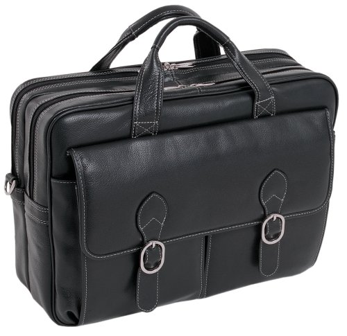 McKleinUSA KENWOOD 15565 Black Leather Double Compartment Laptop Case by McKleinUSA