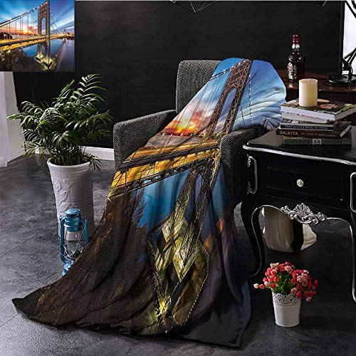 Xlcsomf Multi-Pattern Blanket Apartment Decor Collection George Washington Bridge Connecting NJ to Manhattan NY Sunlights Clear Sky Image Easy to Carry Blue Bright Gold W70 x L84