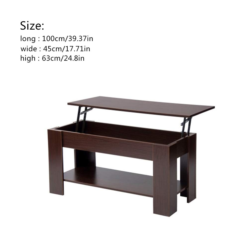 DaDaU Coffee Table Lift Top Sturdy and Stocky Wood 100x45x63CM Hidden Compartment Lift Tabletop Furniture for Living Room Brown