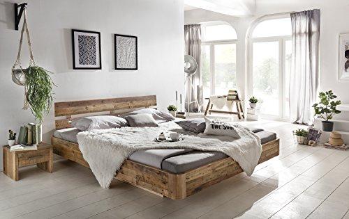 Woodkings® Bett 180x200 Hampden Doppelbett recycelte Pinie Schlafzimmer  Massivholz Design Doppelbett Schwebebett Massive Naturmöbel Echtholzmöbel  ...