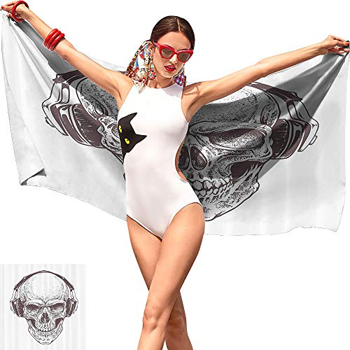 Jaydevn Skulls Decorations Collection Beach Towel,Digital Dot Work Style Punk Skull with Headphones Hippie Dead Bones Graphic Print Brown White,Lightweight Beach Towel W27 x L55]()