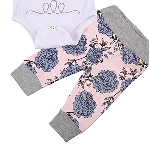 14ee9ba7f BAOBAOLAI Baby Girls Daddy's Little Princess Romper + Flowers Pants + Hat + Flower  Headband 4PCs