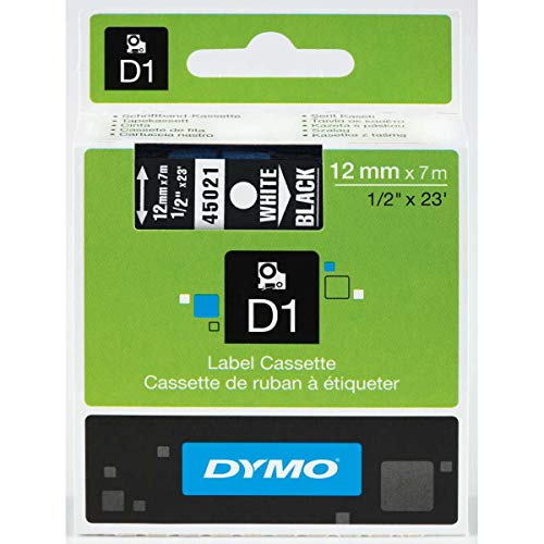 (DYMO High-Performance Permanent Self-Adhesive D1 Polyester Tape for Label Makers, 1/2-inch, White Print on Black, 23-foot Cartridge, (45021), DYMO Authentic)