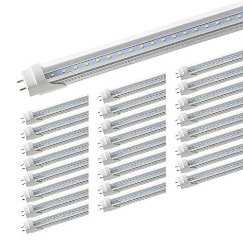 """2FT LED Tube Lights - Romwish 24"""" 8W(25W Fluorescent Bulb Replacement) LED Tube Light Fixture, Two Pin G13 Base, 5000Kelvin Daylight, Works Without Ballast, Dual-Ended Powered, Clear Cover(Pack of 25)"""