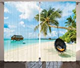 Cheap Ambesonne Ocean Decor Curtains, Exotic Beach in The Maldives With Crystal Waters And Palm Trees On Sand Tropical Decorations Party, Living Room Bedroom Decor, 2 Panel Set, 108 W X 84 L Multi