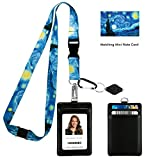 Vincent Van Gogh the Starry Night Print Lanyard with PU Leather ID Badge Holder Wallet with 3 Card Pockets, Safety Breakaway Clip and Matching Note Card. Carabiner Keychain Flashlight.