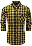 KateSui Men's Stylish 100% Cotton Slim Fit Long Sleeve Button-Down Plaid Dress Shirt Medium Yellow Navy