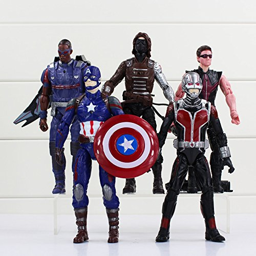 WEKIPP 5Pcs/Lot Age of Ul Figure Captian America Man PVC Action Figure with Led -Multicolor Complete Series Merchandise