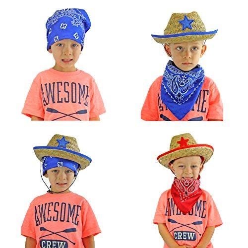 JOYIN Pack of 12 Childs Straw Cowboy Hats with Cowboy Bandannas (6 red & 6 blue) Party Favors