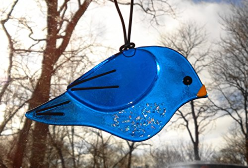 (Fused Glass Blue Bird Suncatcher)
