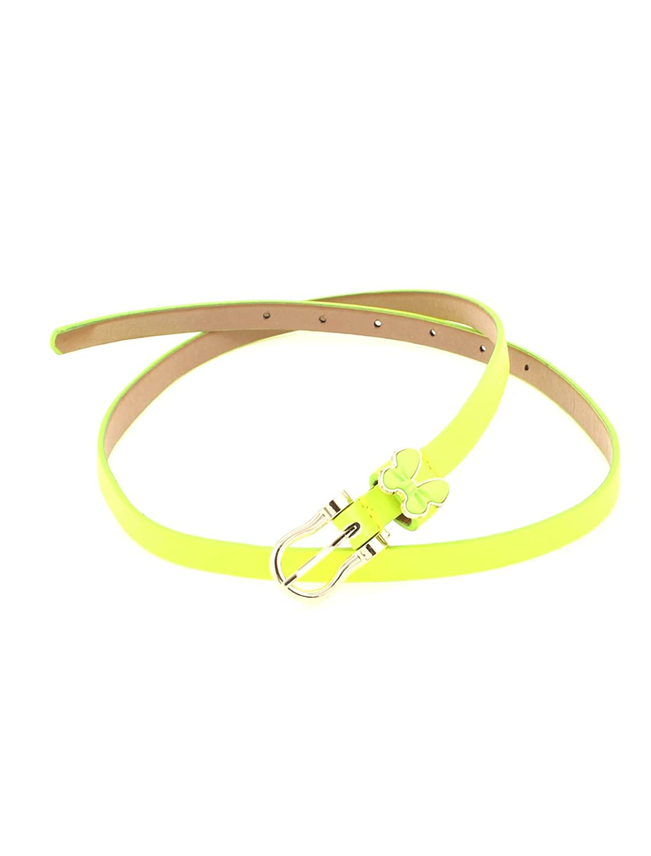Woman Faux Leather Adjustable Waist Belt Thin Skinny Waistband Yellow