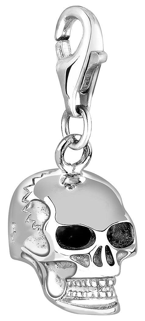 Nenalina Charm Totenkopf Anh/änger in 925 Sterling Silber f/ür alle g/ängigen Charmtr/äger 713057-000