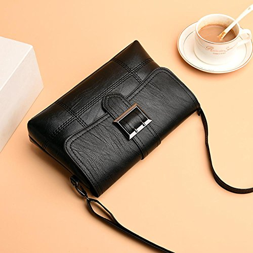 Shoulder Casual Bag Bag Flap Women PU Messenger Black Leather Everpert Handbag Pure 15Rqzwtxw