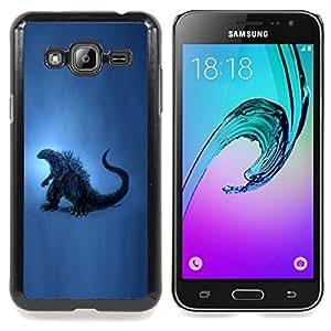 """Qstar Arte & diseño plástico duro Fundas Cover Cubre Hard Case Cover para Samsung Galaxy J3(2016) J320F J320P J320M J320Y (Dinosaurio Arte de la pintura azul del reptil Historia"""")"""