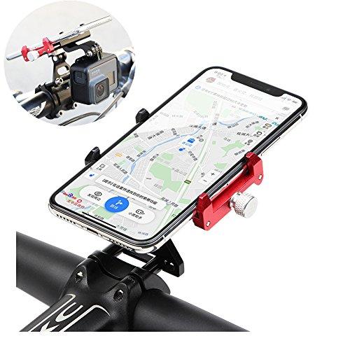 Gub Bike Mount, G-99 Universal Bike Bicycle Phone Holder, Adjustable Angle CNC Alloy Stem Rack for iPhone Samsung 3.5''-6.2'' Cellphones Compatible Gopro Sports Camera BLACK-RED by Gub