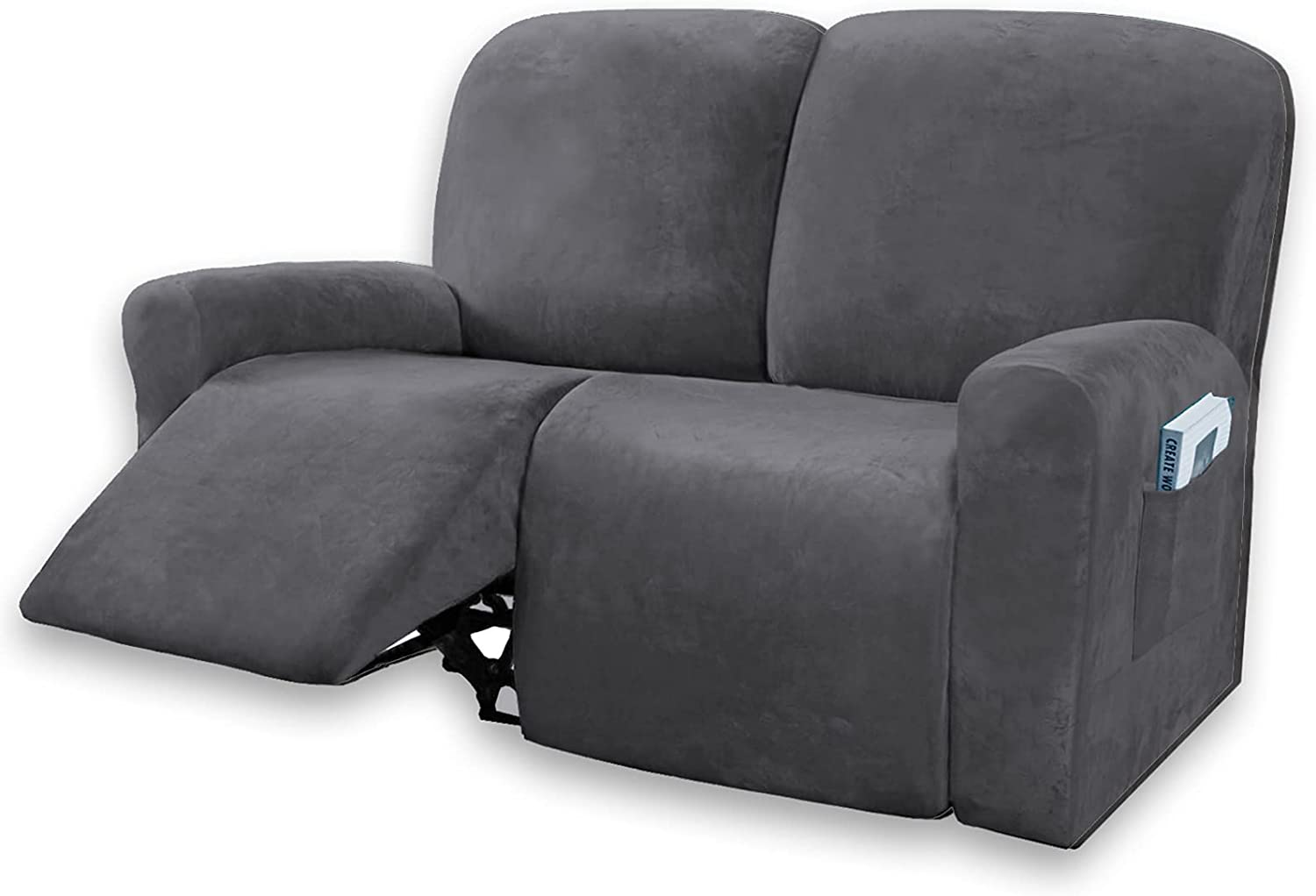 Velvet 6 Pieces Recliner Loveseat Cover, 2 Seaters Lazy Boy Reclining Furniture Protector for Kids & Pet, Non Slip Love Seat Sofa Couch Slipcover, Thick, Washable