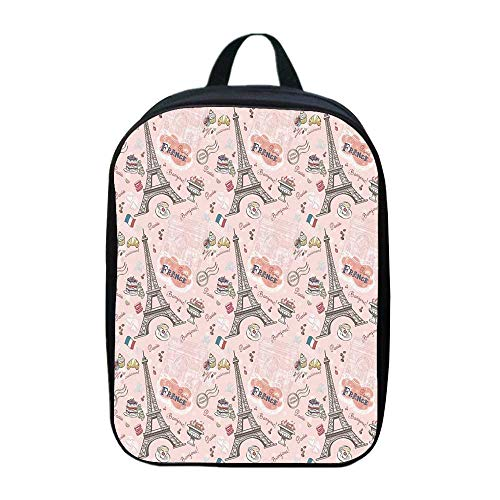 Paris Individual Backpack,Romantic Elements from the Capital City of the France Croissant Muffin Macaroon Paris Decorative for School,One_Size