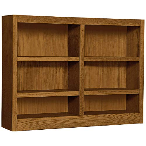 Midas Six Shelf Double Bookcase 36 H Dry Oak Finish