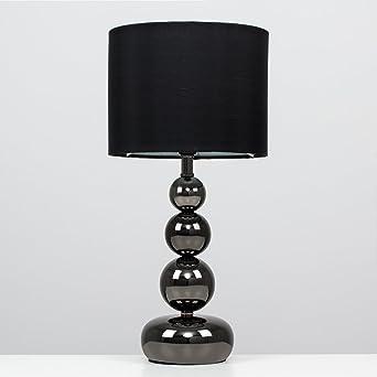 MiniSun - Lampada da tavolo moderna, nera lucida e touch - stile ...