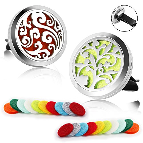 2 Pack Aromatherapy Essential Oil Car Diffuser Vent Clip with 20 Refill Pads, Car Air Freshener Fragrance Diffuser Stainless Steel Locket