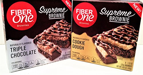 New Fiber (Fiber One NEW Product for 2018! SUPREME BROWNIES Variety 6 Pack: 3 Boxes of TRIPLE CHOCOLATE, 3 Boxes of COOKIE DOUGH + FREE pack of silver plastic utensils. 30 Total Brownies!)