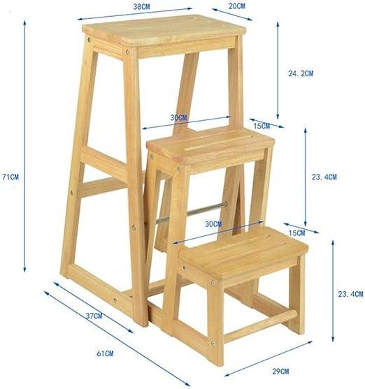 GOG Taburete, escalera plegable Taburetes Escaleras Madera maciza Multifunción 3Ste Bar Taburete Cambio de zapatos Escaleras de silla,madera color: Amazon.es: Bricolaje y herramientas