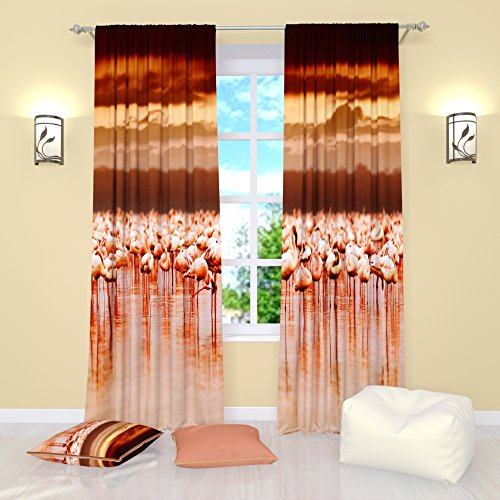 Bird curtains Dance of flamingo. Window Treatment Curtain Panel (Set of 2) Bedroom Kitchen Living, Kids Room W104'' x L96'' Polyester by Factory4me