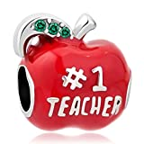 QueenCharms Number 1 Teacher Apple Charm Beads For Charm Bracelets