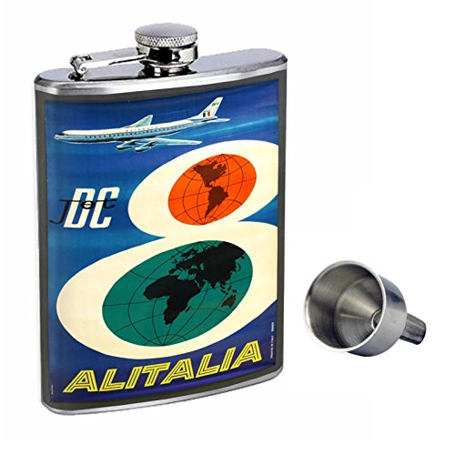 Perfection In Style 8oz Stainless Steel Whiskey Flask with Free Funnel D-076 DC Jet Airlines Alitalia