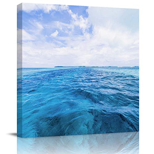 Arts Language Canvas Print Wall Art Blue sea Surface Under The Clouds Stretched and Framed Modern Giclee Artwork for Office/Livingroom/Bedroom/Hallway 24x24in]()