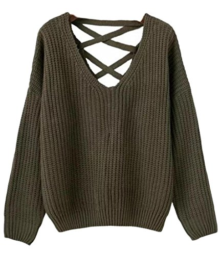 M Army Knitted amp;W Green Tops Pullover Pullover Neck Sweat Up V Lace amp;S Women's 66qwrf7