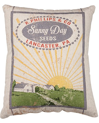 (Primitives by Kathy Vintage Feed Sack Style Sunny Day Seeds Throw Pillow, 14 x 17-Inch,)