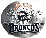 The DENVER BRONCOS NFL LIMITED EDITION FOOTBALL TEAM BELT BUCKLE BY SISKIYOU