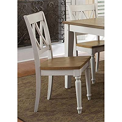 "Liberty Furniture 841-C3000S Al Fresco III Double X Back Side Chair, 19"" x 21"" x 37"", Driftwood and Sand"