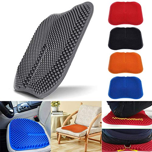 Uplord Silicone Fatigue Cushion,Washable Silica Gel Seat Cushion Non Slip Memory Chair Pad,Massage Car Seat Cushion Breathable Seat Pad Non-Slip Help Relieving Back Pain (Blue)