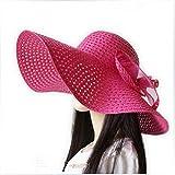 MAZIMARK--Summer Ladies Sun Straw Hat Large Wide Brim Floppy Beach Vacation Bohemia Hat