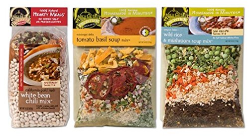 Frontier Soups 100% Natural Homemade In Minutes GF Soup Mix 3 Flavor Variety Bundle: (1) Calif Goldrush White Bean Chili, (1) Mississippi Tomato Basil, and (1) Oregon Wild Rice & Mushroom, 4-15 Oz Ea (French Onion Soup Chicken)