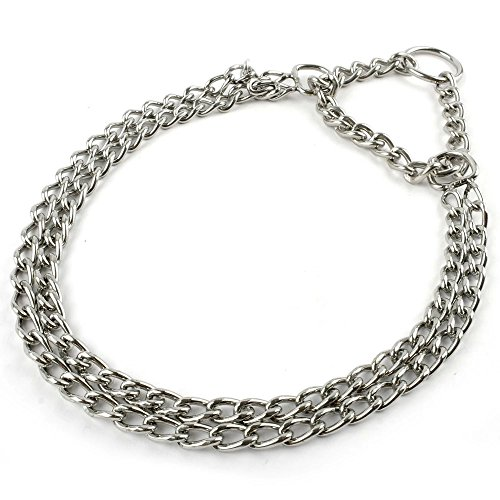 Beirui Dog Pet Martingale Pinch Metal Stainless Steel Collar for Training Walking Link Double Plated Choke Chain Neck for XL Dogs 24-28