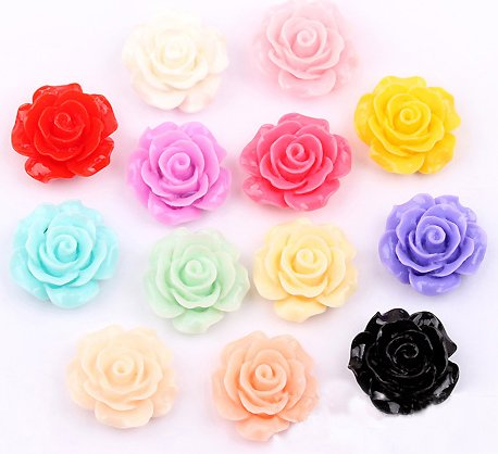 50Pcs DIY Handcrafted Mixed Resin Rose Flowers Flat Base Resin Flower Jewelry Beads Embellishments 18x9mm