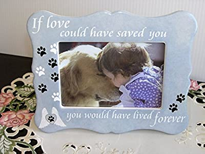 Pet Memorial Picture Frame - If Love Could Have Saved You Pet Frame - Paw Prints and Angel Wings