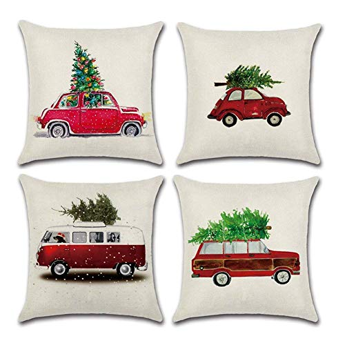 Set of 4 Christmas Tree and Red Truck Throw Pillow Case Cushion Cover Cotton Linen Square Toss Throw Pillow Covers for Sofa Bedroom Car Decor 18