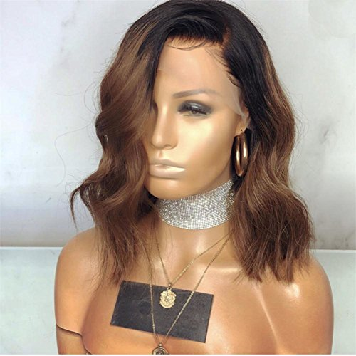 KRN Lace Front Wigs #1B/30 Dark Roots Brown Ombre Virgin Human Hair Natural Wave 130 Density Lace Wigs Pre Plucked with Baby Hair (14inch, Full Lace Wig)