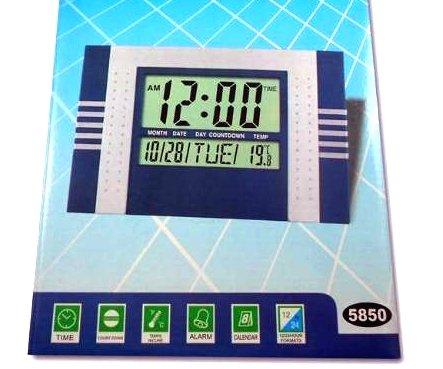 Reloj digital de Pared pantalla Jumbo LCD numeros grandes con termometro y calendario para cocina oficina escritorio mesa con despertador clima clock ...