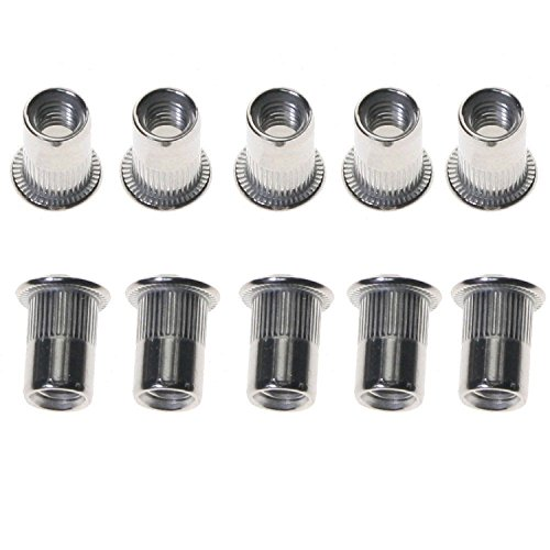 1/4-20-.260 Large Flange Ribbed Blind Threaded Inserts | Flat Head | Ribbed | Thin Wall | Open End | Aluminum Alloy #5056 | Cleaned and Polished Rivet Nut (QUANTITY: 1000) by Jet Fitting & Supply Corp