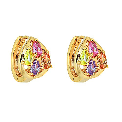 14k Yellow Gold Filled Juicy Earring with Multi Soft-Colored (Multi Coloured Gemstone Earrings)