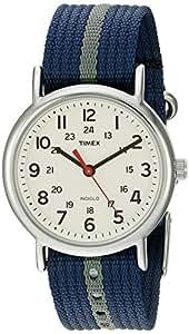 Timex Unisex T2N654 Weekender Blue/Gray Stripe Nylon Slip-Thru Strap Watch
