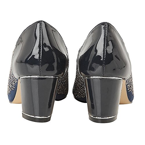 Lotus Navy Patent & Diamante Attica Open-Toe Shoes Navy & Blue GfnPgWe