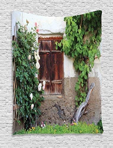 (Shutters Tapestry Wall Hanging, The Old Windows with Wooden Shutters Roses and Wine Country House Backyard Wall Art Tapestries for Home Bedroom Living Room Dorm Decor, Green White Brown)