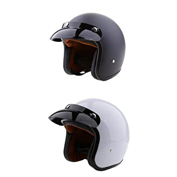 Homyl Set Of 2 Cafe Racer Retro Vintage Open Face 3 4 Motorcycle