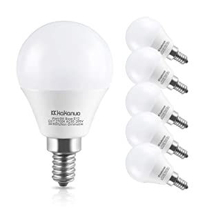 Kakanuo LED Light Bulbs Candelabra Base 60W Equivalent,E12 Base Warm White 2700K Candle Light, E12 LED Bulbs for Ceiling Fan Decorative G45 LED Globe Bulbs,Non-Dimmable,6 Pack